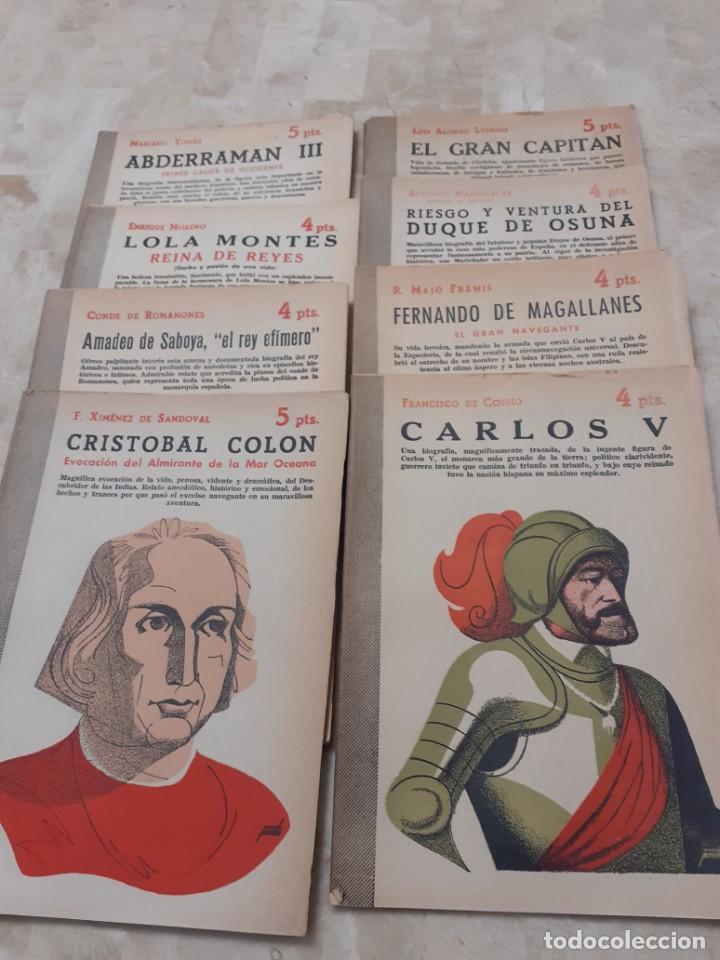 LOTE DE 8 BIOGRAFIAS DE LA REVISTA LITERARIA DE LOS AÑOS 50 NOVELAS Y CUENTOS (Libros de Segunda Mano - Biografías)