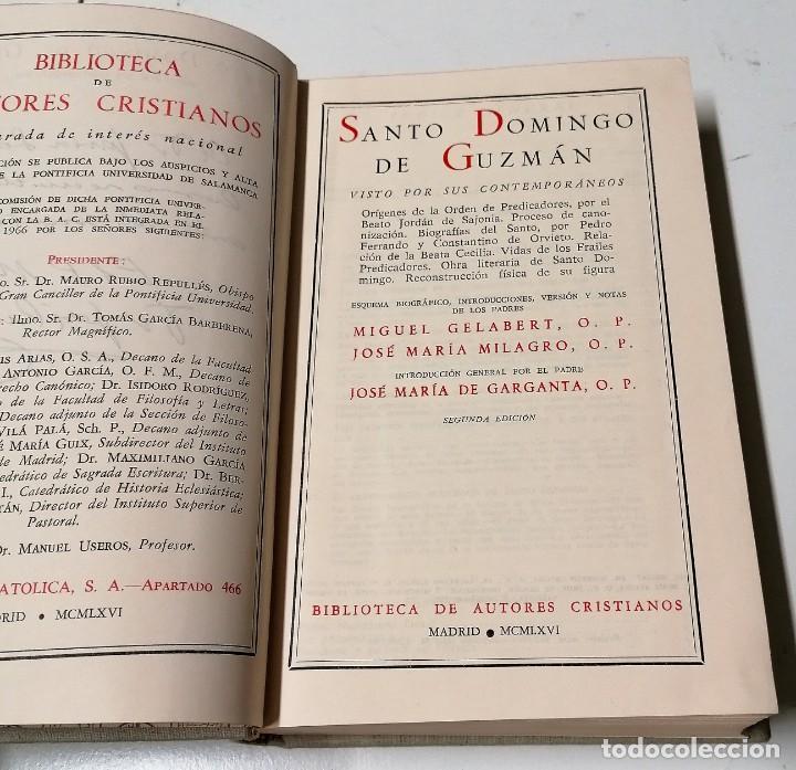 Libros de segunda mano: Santo Domingo de Guzmán visto por sus contemporáneos, Biblioteca de Autores Cristianos, Madrid, 1966 - Foto 3 - 210382701