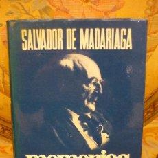 Libros de segunda mano: SALVADOR DE MADARIAGA: MEMORIAS (1921 - 1936). AMANECER SIN MEDIODÍA. ESPASA-CALPE, 1ª EDICIÓN 1.974. Lote 236778170