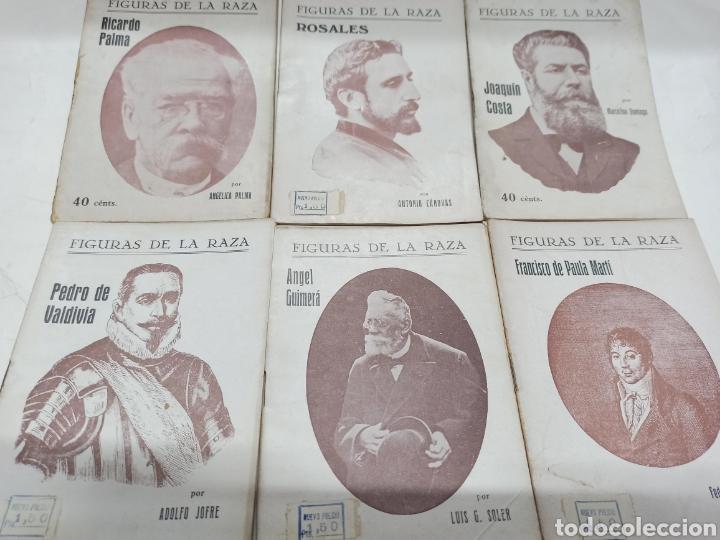 LOTE 12 BIOGRAFIAS COL. FIGURAS DE LA RAZA: JOAQUIN COSTA, ROSALES, RICARDO PALMA, PEDRO DE VALDIVIA (Libros de Segunda Mano - Biografías)
