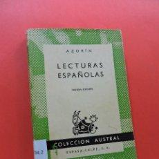 Libros de segunda mano: LECTURAS ESPAÑOLAS. AZORÍN. 9ª ED. COLECCIÓN AUSTRAL ESPASA CALPE 1964. Lote 262845610