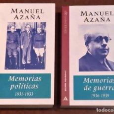 Libros de segunda mano: MEMORIAS POLÍTICA 1931-1933, MEMORIAS DE GUERRA 1936-1939. MANUEL AZAÑA. Lote 264453644