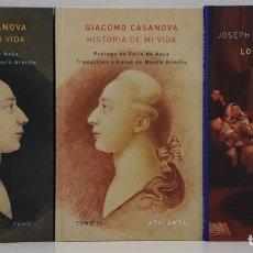 Livros em segunda mão: GIACOMO CASANOVA, HISTORIA DE MI VIDA I,II Y LOS ÚLTIMOS AÑOS DE CASANOVA (ATALANTA). Lote 290987708