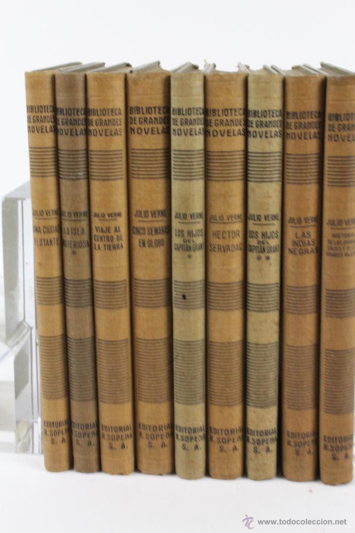 L-1193. JULIO VERNE. BIBLIOTECA DE GRANDES NOVELAS. 9 LIBROS. RAMON SOPENA. 1939 - 1941. (Libros de Segunda Mano (posteriores a 1936) - Literatura - Narrativa - Ciencia Ficción y Fantasía)
