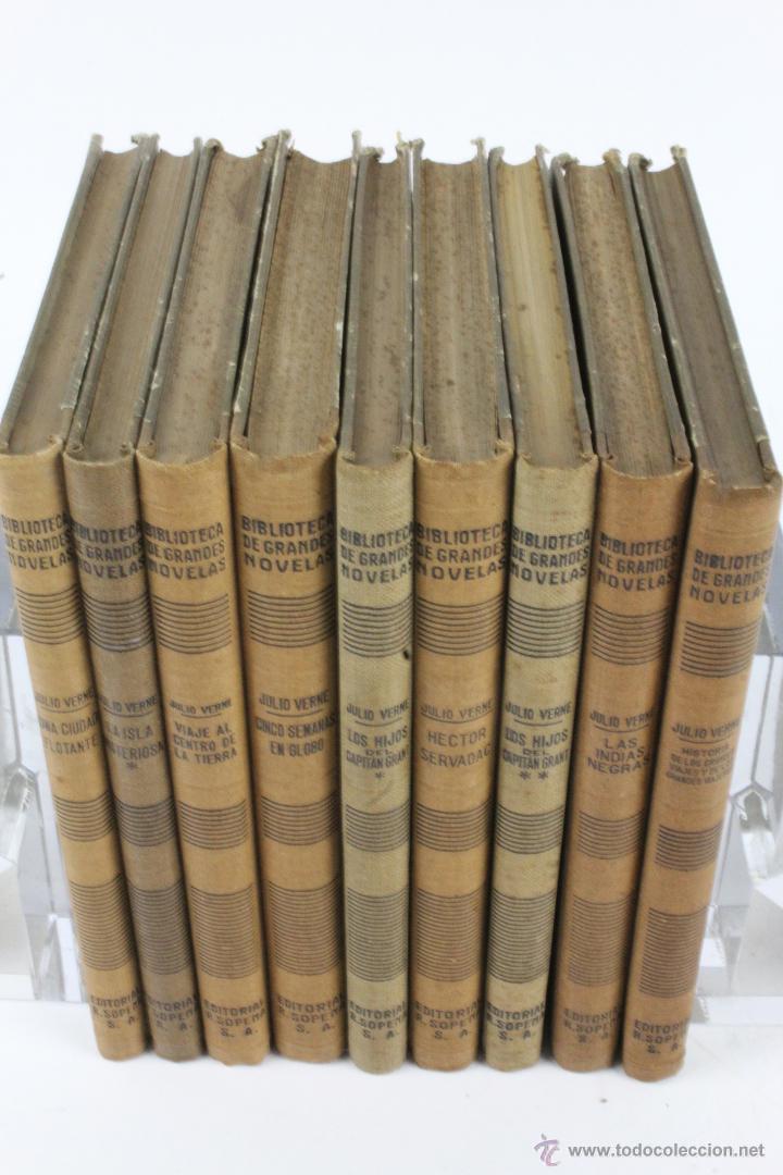 Libros de segunda mano: L-1193. JULIO VERNE. BIBLIOTECA DE GRANDES NOVELAS. 9 LIBROS. RAMON SOPENA. 1939 - 1941. - Foto 2 - 50603847