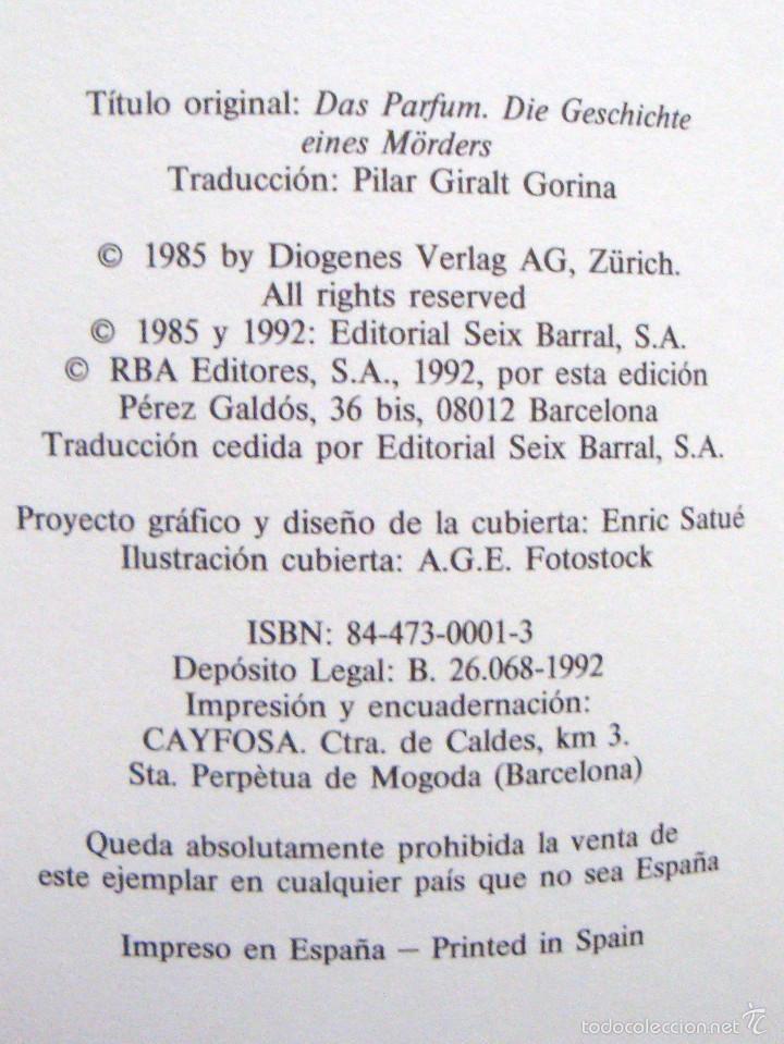 Libros de segunda mano: RBA narrativa actual-el perfume David Súskind 1992-¡oferta mas de 4 libros descuento 30%! - Foto 2 - 57675627