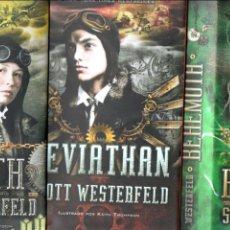 Libros de segunda mano: SCOTT WESTERFELD : LEVIATHAN / BEHEMOTH / GOLIATH (EDEBÉ 2012/13) TRILOGIA COMPLETA. Lote 57746361