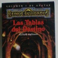 Libros de segunda mano: REINOS OLVIDADOS - VOL.1 DE AVATAR - LAS TABLAS DEL DESTINO - RICHARD AWLISON - TIMUNMAS. Lote 89159200