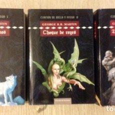 Libros de segunda mano: JUEGO DE TRONOS+CANCIÓN DE HIELO Y FUEGO I, II Y III+GEORGE R. R. MARTIN+ED.CÍRCULO DE LECTORES+2002. Lote 110781407