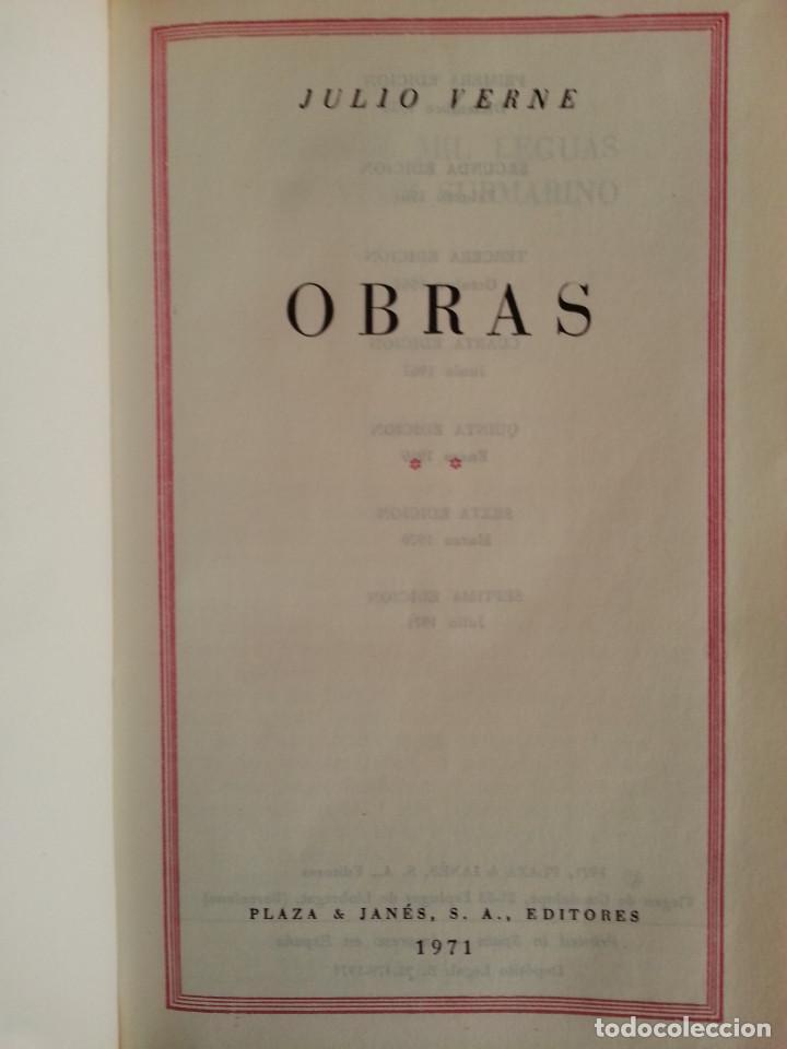 Libros de segunda mano: JULIO VERNE: OBRAS COMPLETAS, VOLS. II y V (2 TOMOS) - PLAZA & JANÉS, 1970/1971 - Foto 5 - 155682942