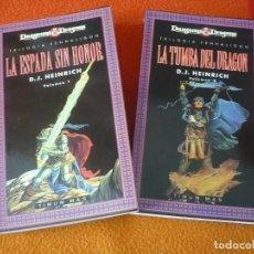 Libros de segunda mano: ESPADA SIN HONOR + LA TUMBA DEL DRAGON TRILOGIA PENHALIGON 1 Y 2 DUNGEONS & DRAGONS FANTASIA . Lote 158498366