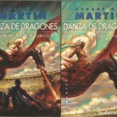 Libros de segunda mano: GEORGE R.R. MARTIN. DANZA DE DRAGONES. TOMOS I Y II. GIGAMESH. Lote 158840818