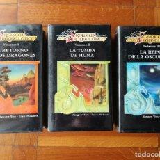 Libros de segunda mano: TRILOGIA CRONICAS DE LA DRAGONLANCE - MARAGRET WEIS, TRACY HICKMAN: COMPLETA, 3 TOMOS; TIMUN MAS. Lote 165064014