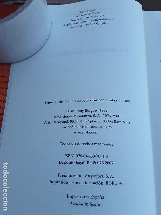 Libros de segunda mano: La naranja mecanica, de Anthony Burgess. Tapa dura. Clásicos Minotauro, 2007. Excelente estado. - Foto 4 - 168706168