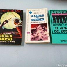 Libros de segunda mano: EL PLANETILLO FURIOSO. G. H. WHITE. LA AMENAZA DE ANDROMEDA. M. CRICHTON. EL ALMA DEL ROBOT. BAYLEY.. Lote 186056346