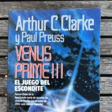 Libros de segunda mano: VENUS PRIME III, EL JUEGO DEL ESCONDITE. AUT. ARTHUR C CLARKE Y PAUL PREUSS. PLAZA & JANÉS, AÑO 1981. Lote 195009496