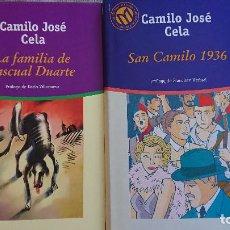 Libros de segunda mano: CAMILO JOSÉ CELA – 2 LIBROS: LA FMILIA DE PASCUAL DUARTE; SAN CAMILO 1936. Lote 198540268
