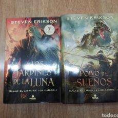 Libros de segunda mano: LOS JARDINES DE LA LUNA Y POLVO DE SUEÑOS (MALAZ I Y IX) DE STEVEN ERIKSON TAPA DURA NOVA. Lote 206236342