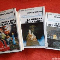 Libros de segunda mano: PRIMERA TRILOGÍA CRÓNICAS DE THOMAS COVENANT EL INCRÉDULO - STEPHEN R. DONALDSON ACERVO TAPA DURA. Lote 231018585
