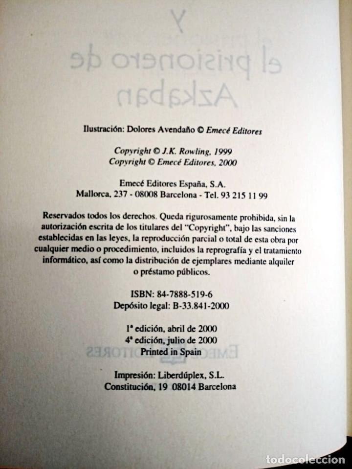 Libros de segunda mano: HARRY POTTER Y EL PRISIONERO DE AZKABAN. ROWLING, J. K. EMECE. 4 ª ED. 2000 NUEVO. - Foto 5 - 290115488