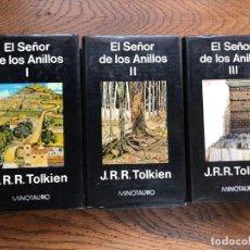 Libros de segunda mano: EL SEÑOR DE LOS ANILLOS J. R. R. TOLKIEN. MINOTAURO. 3 VOLÚMENES. Lote 290145248