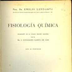 Libros de segunda mano de Ciencias: MEDICINA. FISIOLOGIA QUIMICA POR EMILIO LEHNARTZ.EDITOR MANUEL MARIN 1949. Lote 10521740