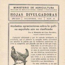 Libros de segunda mano: HOJAS DIVULGADORAS,MINISTERIO DE AGRICULTURA,DICIEMBRE 1944 Nº 46.APRECIACIONES GALLINAS ESPAÑOLAS.. Lote 17344715