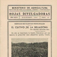 Libros de segunda mano: HOJAS DIVULGADORAS, MINISTERIO AGRICULTURA, DICIEMBRE 1944, NUM.45, EL CULTIVO DE LA BELLADONA. Lote 17369795