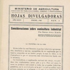 Libros de segunda mano: HOJAS DIVULGADORAS, MINISTERIO AGRICULTURA, ENERO 1943, NUM. 4, SOBRE CUNICULTURA INDUSTRIAL. Lote 17369803