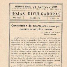 Libros de segunda mano: HOJAS DIVULGADORAS, MINISTERIO AGRICULTURA, MARZO 1943, NUM. 11, CONSTRUCCIÓN DE ESTERCOLEROS. Lote 17371941