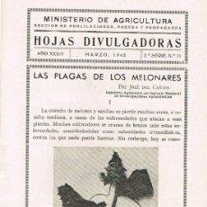 Libros de segunda mano: HOJAS DIVULGADORAS, MINISTERIO AGRICULTURA, MARZO 1942, 2º SERIE, Nº 11, LAS PLAGAS DE LOS MELONARES. Lote 17372061