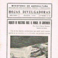 Libros de segunda mano: HOJAS DIVULGADORAS, MINISTERIO AGRICULTURA, MARZO 1942, 2º SERIE, NUM. 12, RIQUEZA DE NUESTROS RÍOS. Lote 17372225