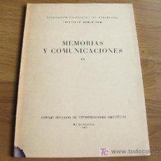 Libros de segunda mano: MEMORIAS Y COMUNICACIONES - DIPUTACIÓN PROVINCIAL DE BARCELONA - INSTITUTO GEOLOGICO 1952. Lote 19680598