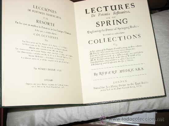 LECCIONES DE POTENCIA RESTITUTIVA O EL RESORTE. ROBERT HOOKE. (Libros de Segunda Mano - Ciencias, Manuales y Oficios - Física, Química y Matemáticas)