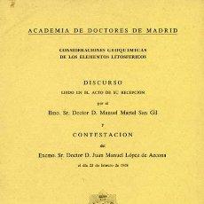 Libros de segunda mano: CONSIDERACIONES GEOQUIMICAS DE LOS ELEMENTOS LITOSFÉRICOS.. Lote 24135591