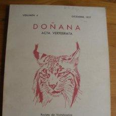 Libros de segunda mano: DOÑANA. ACTA VERTEBRADA. 1977. REVISTA CSIC. 187 PAG. Lote 27343138