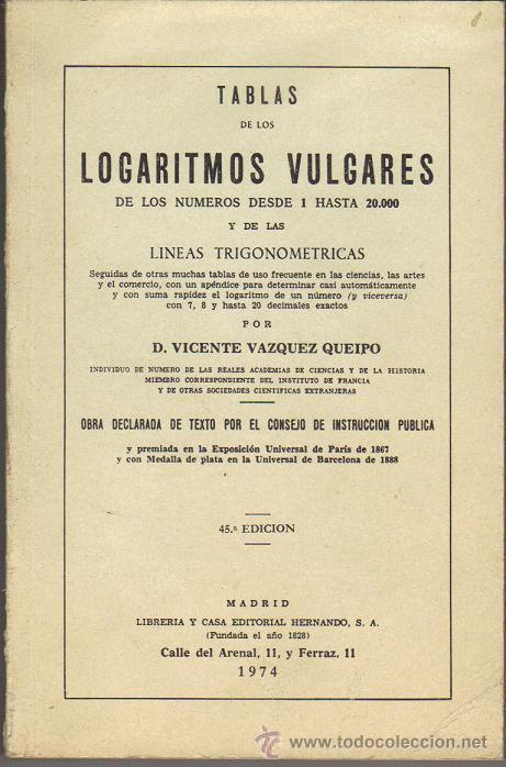 TABLAS DE LOS LOGARITMOS VULGARES (Libros de Segunda Mano - Ciencias, Manuales y Oficios - Física, Química y Matemáticas)