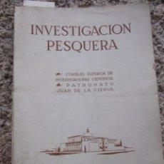 Libros de segunda mano: BIOLOGIA MARINA - INVESTIGACION PESQUERA - CSIF - TOMO I OCT1955 BARCELONA -PAT JUAN DE LA CIERVA . Lote 27799526