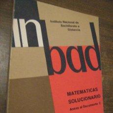 Libros de segunda mano de Ciencias: LIBRO DE MATEMATICAS C.O.U. - ANEXO DOCUMENTO 2 - INSTITUTO NACIONAL DE BACHILLERATO A DISTANCIA. Lote 32548401