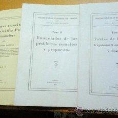 Libros de segunda mano de Ciencias: PROBLEMAS RESUELTOS DE MATEMÁTICA PURA Y FINANCIERA. 3 VOLS. (J.A.ESTRUGO) - 1956 - SIN USAR. Lote 35271061