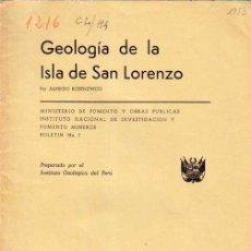 Livros em segunda mão: GEOLOGIA DE LA ISLA DE SAN LORENZO, POR ALFREDO ROSENZWEIG. 1953. INSTITUTO GEOLOGICO DEL PERU. Lote 35403295