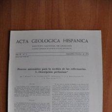 Libros de segunda mano: ACTA DE GEOLOGIA HISPÁNICA AÑO IX - Nº 5 - 1974 - INSTITUTO NACIONAL DE GEOLOGIA CSIC. Lote 36061785