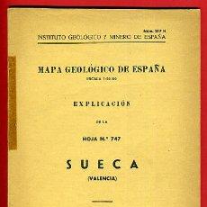 Libros de segunda mano: LIBRO, MAPA GEOLOGICO DE ESPAÑA , SUECA VALENCIA, 1955 , ORIGINAL. Lote 36614511