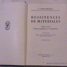 Libros de segunda mano de Ciencias: RESISTENCIA DE MATERIALES. PRIMERA PARTE. TEORÍA ELEMENTAL Y PROBLEMAS. (AUTOR: TIMOSHENKO) . Lote 36912075