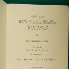 Livres d'occasion: RESEÑA DE LAS ROCAS DE LA ISLA VOLCANICA GRAN CANARIA-SALVADOR CALDERON Y ARANA-GRABADOS-1875-1995.. Lote 39403622