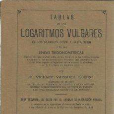 Libros de segunda mano de Ciencias: TABLAS DE LOS LOGARITMOS VULGARES. VICENTE VÁZQUES QUIEIPO. HERNANDO S.A. MADRID. 1940. Lote 39583947