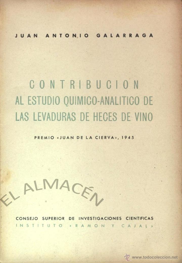 CONTRIBUCIÓN AL ESTUDIO QUÍMICO ANALÍTICO DE LAS LEVADURAS DE HECES DE VINO - 1946 - SIN USAR JAMÁS (Libros de Segunda Mano - Ciencias, Manuales y Oficios - Física, Química y Matemáticas)