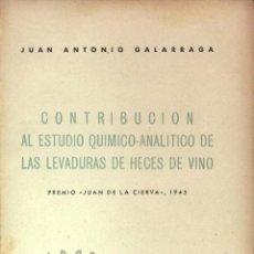 Libros de segunda mano de Ciencias: CONTRIBUCIÓN AL ESTUDIO QUÍMICO ANALÍTICO DE LAS LEVADURAS DE HECES DE VINO - 1946 - SIN USAR JAMÁS. Lote 69628291