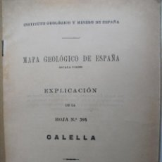 Libros de segunda mano: CALELLA. MAPA GEOLOGICO DE ESPAÑA.. Lote 40964111