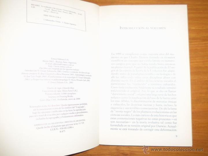 Libros de segunda mano: LA EVOLUCION Y LAS CIENCIAS, por Vivian Scheinsohn - EMECE - Argentina - 2001 - Foto 2 - 41373504